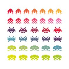 Rainbow Wall Space Invaders  giclee print  fine art by malobi,