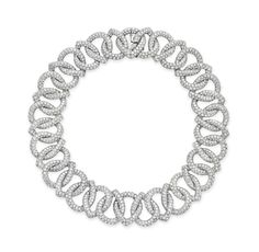 A DIAMOND NECKLACE, BY BOUCHERON  Designed as a series of circular-cut diamond drop-shaped interlocking links, mounted in 18k white gold, 16 ins., with French assay mark and maker's mark Signed Boucheron, no. P5608