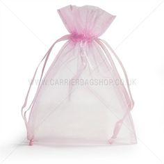 Organzabeutel mit Kordelzug pink