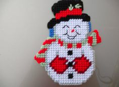 Plastic Canvas Snowman Magnet by JansCraftShop on Etsy, $13.00