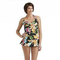 Jaclyn Smith- -Women's Halter Swim Dress - Tropical Floral