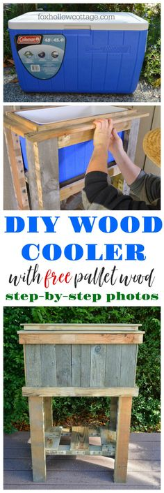 Step-by-step DIY Tutorial — How to build a pallet wood deck cooler. Super cheap and easy deck cooler project build. Deck Cooler, Pallet Cooler, Wood Cooler, Outdoor Cooler, Diy Projects For Men, Diy Pallet Projects, Diy Outdoor Wood Projects, Outdoor Ideas, Craft Room Storage