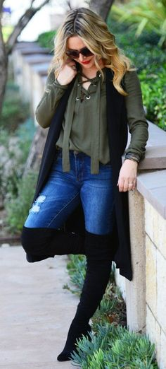 #winter #outfits / Green Blouse // Ripped Jeans/ /black OTK Boots // Black Sleeveless Trench