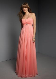 coral-chiffon-strapless-empire-floor-length-a-line-pleated-bridesmaid-dress-1.jpg (600×850)