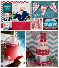 @Tiny Prints shares a lovely turquoise and red chevron party inspiration board with red chevron banner printable from You Make Do®! Click to view their inspiration—and the links to matching party invitations, instant download and customizable chevron banner printables, and birthday treats! #party
