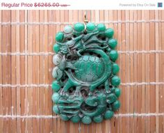 SALE 10k Large Old Imperial Jadeite Turtle Dragon Amulet - Luck and Success in Business by Gementia13Jewels