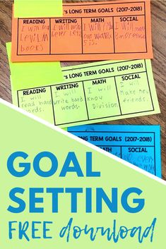 During the first week of school, students filled out these goal sheets. They wrote in one goal for each category. It made for a gorgeous, colorful, and meaningful bulletin board for the first half of the year! Grab the printables for free. #backtoschool Elementary Teacher, Elementary Schools, Upper Elementary, Reading Interest Survey, Mentor Sentences, Work On Writing, 3rd Grade Classroom, Math About Me, Independent Reading