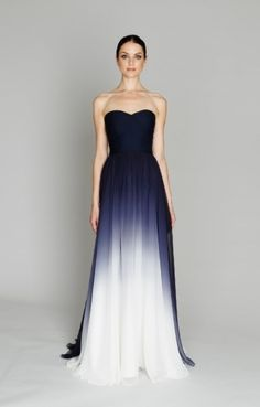 Navy Ombre Gown - nice idea for softer TW ladies. it's dark closer to face (at the same time not just under the face), has classic feminine feeling and some contrast from much ligher area at the hem :)