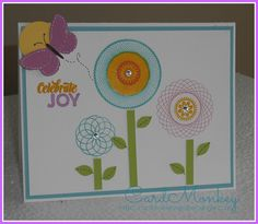 "This card uses Close To My Heart's ""Dizzy Circles"" stamp set along with ""Kaleidoscope Blooms"". I am a CTMH Consultant (www.cardmonkey.ctmh.com) and I'd be happy to SHOW YOU HOW to make this card yourself!"