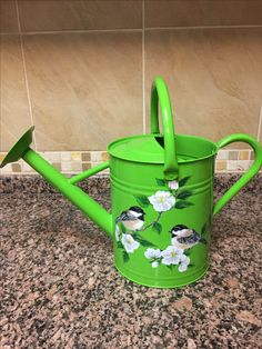 Watering Can with Chickadees