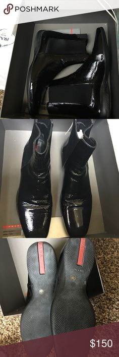 Prada Calzature Donna boots Soft patent calfskin leather. The creases are a feature typical of this particular leather. Slightly used. Barely worn. Comes with box and everything. Neiman Marcus. Prada Shoes Ankle Boots & Booties