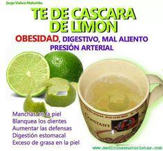 Receta muy saludable para combatir la obesidad, limpiar el sistema digestivo, eliminar el mal aliento...etc.TE DE LIMON (Fácil y Sencilla)Preparacion:Colocar al fuego 1 litro de agua.Agregar la cáscara de 2 limones y hervir por 15 minutos.Cuando apagues el fuego, agregar el zumo de los 2 limones.Endulzar con miel, sucralosa o stevia.El té de limón puedes tomarlo frío o caliente después de cada comida, excepto en el desayuno que es conveniente tomarlo en ayunas.