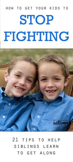 nice great tips for how to get your kids to stop fighting – I want to try stop sibling fights medianet_width = medianet_height = medianet_crid = medianet_versionId = (function() { var isSSL = 'https:' ==. Gentle Parenting, Parenting Advice, Kids And Parenting, Teaching Kids, Kids Learning, Sibling Fighting, Sibling Relationships, Stop Fighting, Fighting Kids