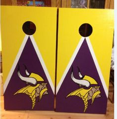 Minnesota Vikings Custom Made Corn hole Boards - These Cornhole boards are handcrafted, hand painted and custom made for each of our customers and meet the Cornhole Association specifications. Free set of cornhole bags are also provided for $169.99. They make great gifts for anyone for any occasion! We love custom orders and will make your team, theme or wedding. Contact us at www.fscustomcraftcreations.com