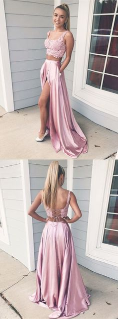 Two Piece Square Lace-Up Pink Split Prom Dress with Lace Pockets Prom Dress Two Piece, Prom Dress, Pink Prom Dress, Lace Prom Dress Prom Dresses 2019 Split Prom Dresses, Prom Dresses Two Piece, Two Piece Dress, The Dress, Homecoming Dresses, Dress Lace, Dress Prom, Pink Dresses, Prom Two Piece