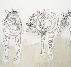 "Imagine my surprise when I went to one of my quilting hero's website and found these ""Line Drawings"" with wire (Alice Beasley)"