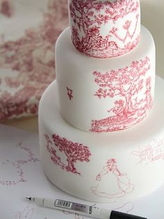 Detail of cake painted by hand with edible ink. Design inspired by Toiles de Jouy 18th century fabric.