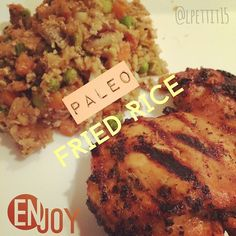 Paleo fried rice with a side of chicken! Follow me on Instagram, @lpettit15, for more pictures and recipes!   #paleo #rice #chicken #paleoeats