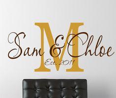 Monogram Wall Decal - Family Name Wall Art - Living Room Decor. $20.00, via Etsy.
