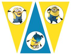 Free Despicable me party printables, birthday party theme, free invitations, free water bottle labels, free banners, free favor tags