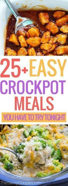 Easy crockpot meals that you can set it and forget in the slow cooker. Break out the crockpot just in time as the weather changes. Place all your ingredients in the crockpot and within a few hours you can enjoy a delicious crockpot meal. These are absolutely incredible and you need to make these tonight! #crockpotmeals #slowcooker #crockpotrecipes #easycrockpotrecipes #bestofpinterest #fallcooking via @TheSavvyCouple