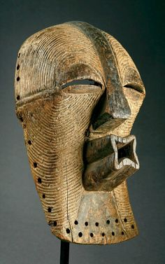 Africa | Kifuébé mask from the Songye people of the DR Congo | Wood, pigment