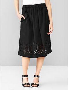 Laser-cut midi skirt | Gap