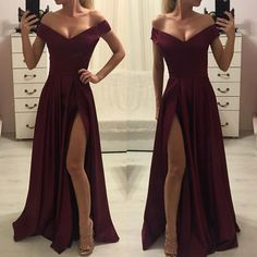 Off-shoulder Burgundy High Split Simple Cheap Prom Dress · DRESS · Online Store Powered by Storenvy Short Sleeve Prom Dresses, A Line Prom Dresses, Cheap Prom Dresses, Homecoming Dresses, Sexy Dresses, Evening Dresses, Short Sleeves, Dress Long, Semi Formal Dresses Long