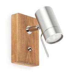 Aplique en madera y aluminio níquel mate con una dicroica de 50W