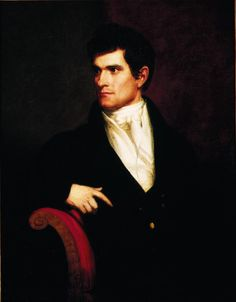 c.1815 oil on canvas portrait of John C. Calhoun by artist Charles Bird King. About 30 years old when this was painted, Calhoun was serving in the US House of Representatives in Washington. From the collection of the SC State Museum.