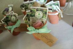 Bridal shower favors | Garden party theme! Use small terra cotta pots, herbal tea packets, ribbons, and chiffon to decorate.
