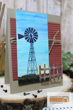 Could use the darkroom door stamp for the windmill or even the ultimate crafts windmill die to CASE this card Love Scrapbook, Scrapbook Storage, Scrapbook Designs, Scrapbook Organization, Scrapbooking, Scrapbook Layouts, Scrapbook Cards, Birthday Cards For Men, Man Birthday