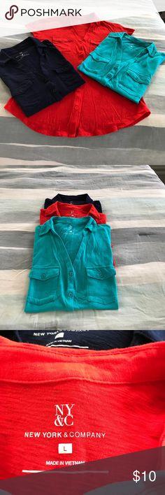 New York & Company shirts New York & Company V neck 2 pocket t-shirts. All three for $10!! New York & Company Tops Tees - Short Sleeve