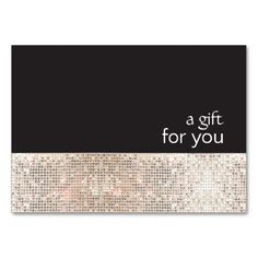Faux Silver Sequins Black Salon Gift Certificate Large Business Cards (Pack Of 100). I love this design! It is available for customization or ready to buy as is. All you need is to add your business info to this template then place the order. It will ship within 24 hours. Just click the image to make your own!