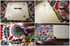 """Learn how to """"upholster"""" a chair with fabric and Mod Podge. Full tutorial by Designer Trapped in a Lawyer's Body! Idées Mod Podge, Mod Podge Fabric, Mod Podge Crafts, Resin Crafts, Decoupage On Canvas, Decoupage Wood, Decoupage Furniture, Diy Canvas Art, Furniture Fix"""