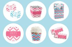 Chevron Gender Reveal Party Supplies #BigDot #HappyDot #PartyIdeas