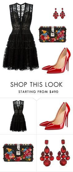"""Untitled #406"" by nadiralorencia on Polyvore featuring Elie Saab, Christian Louboutin and Dolce&Gabbana #blackdress"
