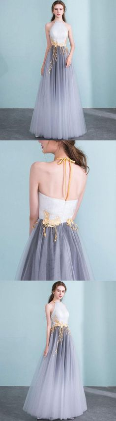 Gray gradient tulle long prom dress, gray evening dress M3780