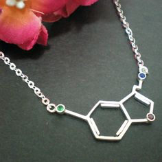 Science Serotonin or Happiness Molecule Silver by yhtanaff on Etsy, $42.00