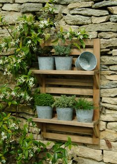 Wall Mounted Herb Rack & 6 Pots Included with this Wall Mounted Herb Rack are the 6 galvanised pots, so you have everything you need to turn a plain wall into a wonderful focal point for your garden, or add an instant herb garden to your kitchen. Herb Garden, Garden Pots, Home And Garden, Garden Walls, Garden Rack, Garden Ideas, Smart Garden, Balcony Garden, Vegetable Garden