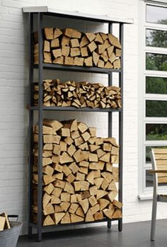 Repurpose an old bookshelf as a firewood rack...I can do that!