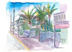 """Saatchi Art is pleased to offer the painting, """"Blue Heaven Thomas St Patio Key West Florida,"""" by M Bleichner, available for purchase at $369 USD. Original Painting: Watercolor on Paper. Size is 7.9 H x 11.8 W x 0.4 in. Cool Artwork, Canvas Artwork, Canvas Art Prints, Fine Art Prints, Key West Florida, Blue Heaven Key West, Original Paintings For Sale, Original Artwork, Retro Poster"""