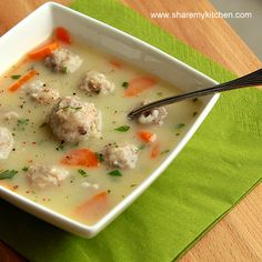 Meatball Soup (beef, pork, or chicken). Looks like a yummy recipe for winter! :)Just add chopped onion, cubed potato or two , and ground cumin.It'll be perfect