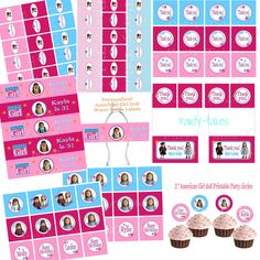 American girl doll party COLLECTION cupcake toppers favors Thank you tags Water bottle labels Birthday Banner Printable YOU CHOOSE Dolls. $35.00, via Etsy.