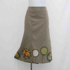 Plus size Skirt, Hand painted skirt, AU 22 uk 20 US 18 skirt, brown pinstripe skirt, upcycled skirt, art to wear, wearable art skirt, OOAK by Rethreading on Etsy