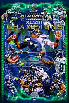 "Original Seahawks SB 48 ""offense' victory poster.  This poster is 20x30in. and can be yours.  You will not find this in stores and is sold from our website."