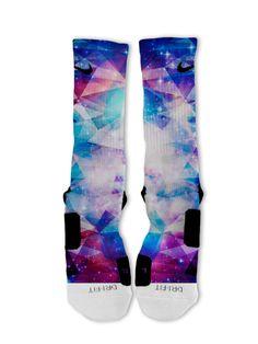 Galaxy Prism Lebron 11 Fast Shipping!! Nike Elite Socks Customized Kobes KD on Etsy, $25.00
