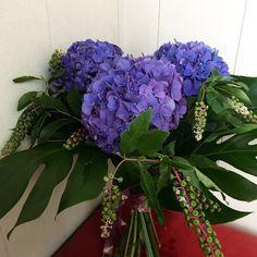 Blue hydrangea and belladonna bouquet Blue Flowers Bouquet, Blue Hydrangea, Floral Wreath, Wreaths, Plants, Home Decor, Homemade Home Decor, Door Wreaths, Flora