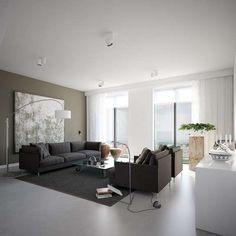 Combinación de muebles y paredes: Fotos de diseños - Salón decorado en colores neutros