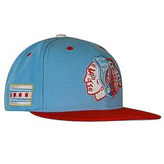 Chicago Blackhawks Fitted New Era 59Fifty Sky Blue Flatbill Hat with Red Bill & Chicago Flag Indian Head Logo #Blackhawks #Chicago #Playoffs #StanleyCup #BecauseItsTheCup